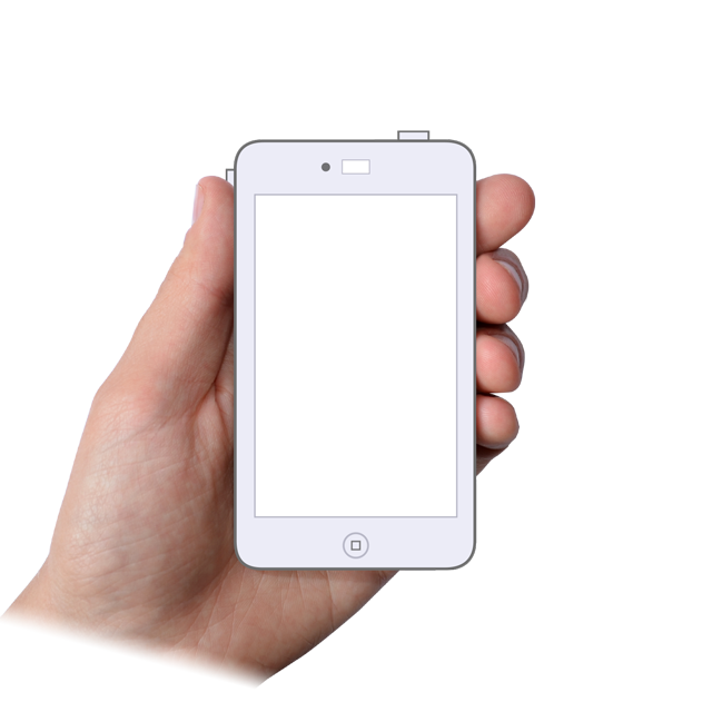 A hand holding an illustrated generic mobile phone